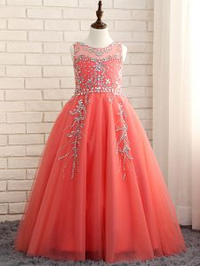 Floor Length Watermelon Red Pageant Gowns For Girls Scoop Sleeveless Zipper