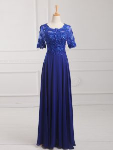 Decent Royal Blue Scoop Zipper Lace and Appliques Mother Of The Bride Dress Half Sleeves