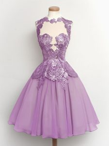 Lilac Lace Up High-neck Lace Damas Dress Chiffon Sleeveless