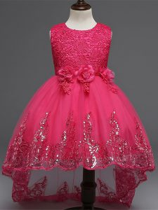 Ideal Hot Pink Tulle Zipper Scoop Sleeveless High Low Flower Girl Dresses Lace and Appliques and Bowknot and Hand Made F