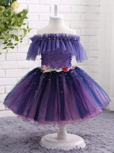 Purple Off The Shoulder Neckline Beading and Hand Made Flower Little Girls Pageant Dress Wholesale Short Sleeves Lace Up