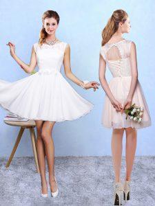 Glamorous Chiffon Sleeveless Knee Length Dama Dress and Lace and Appliques