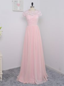 Smart Short Sleeves Chiffon Floor Length Zipper Bridesmaid Gown in Baby Pink with Lace