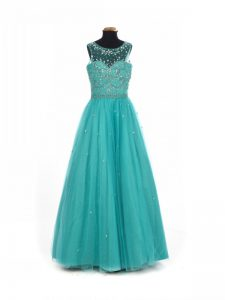 Scoop Sleeveless Tulle Little Girl Pageant Gowns Beading Lace Up