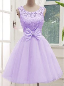 Amazing Lavender Tulle Lace Up Quinceanera Court of Honor Dress Sleeveless Knee Length Lace and Bowknot