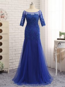 Glittering Royal Blue Tulle Zipper Mother Of The Bride Dress Half Sleeves Floor Length Lace and Appliques