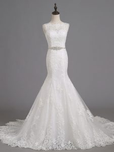 Luxury White Sleeveless Beading and Lace Lace Up Wedding Dresses