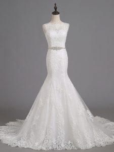 Luxury White Sleeveless Beading and Lace Lace Up Wedding Dresses