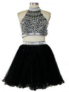 Black Sleeveless Mini Length Beading Criss Cross Pageant Dress for Teens