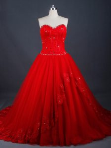 Suitable Red Lace Up Sweetheart Appliques Bridal Gown Tulle Sleeveless Brush Train