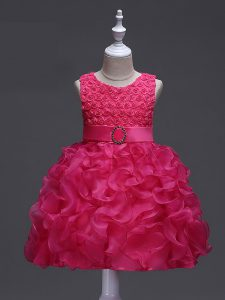 Glorious Sleeveless Knee Length Ruffles and Belt Lace Up Kids Formal Wear with Hot Pink