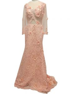 Peach Side Zipper Scoop Beading and Hand Made Flower Mother Of The Bride Dress Tulle Long Sleeves Brush Train