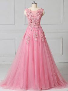 Pink Lace Up Prom Dress Appliques Sleeveless Brush Train