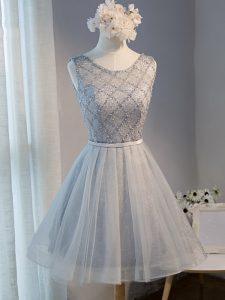 Grey Scoop Neckline Beading Prom Dresses Sleeveless Lace Up
