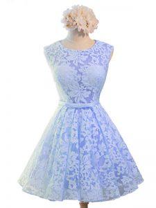 Modern Lavender Lace Lace Up Scoop Sleeveless Knee Length Damas Dress Belt