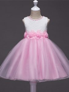 Sweet Sleeveless Knee Length Lace and Hand Made Flower Zipper Little Girl Pageant Gowns with Baby Pink
