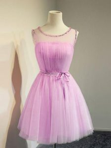Excellent Lilac Lace Up Damas Dress Belt Sleeveless Knee Length