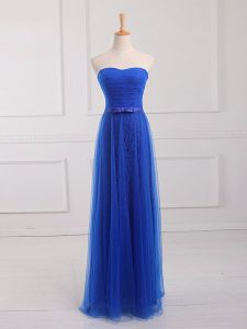 Sleeveless Tulle and Lace Floor Length Lace Up Quinceanera Court Dresses in Royal Blue with Belt