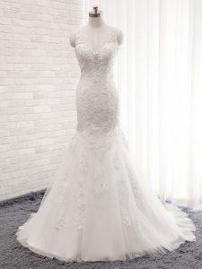 V-neck Sleeveless Wedding Gowns Brush Train Lace White Tulle