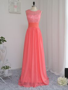 Adorable Sleeveless Chiffon Floor Length Zipper Quinceanera Court Dresses in Watermelon Red with Lace