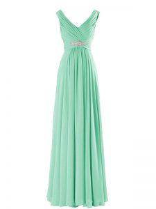 Apple Green Sleeveless Floor Length Beading Zipper Bridesmaid Dresses