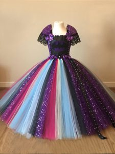 On Sale Multi-color Ball Gowns Square Short Sleeves Tulle Floor Length Zipper Sequins and Pattern Kids Formal Wear