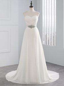 Sleeveless Beading and Ruching Lace Up Wedding Dresses with White Brush Train