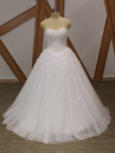 White Tulle Lace Up Sweetheart Sleeveless Floor Length Bridal Gown Beading and Hand Made Flower