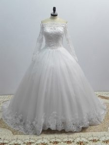 Long Sleeves Tulle Brush Train Lace Up Wedding Dress in White with Lace