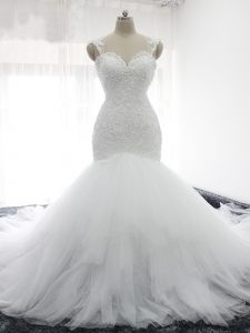 High Class White Straps Neckline Beading and Ruffles Wedding Dress Sleeveless Backless