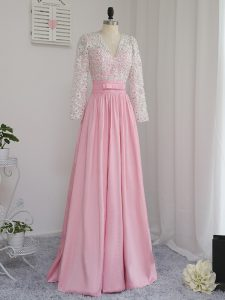 Dynamic Baby Pink Zipper Evening Dress Beading Long Sleeves Floor Length