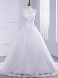 Inexpensive White High-neck Neckline Lace and Appliques and Bowknot Wedding Dress Sleeveless Zipper