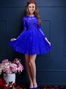 On Sale Blue Chiffon Lace Up Wedding Party Dress 3 4 Length Sleeve Mini Length Beading and Lace and Appliques