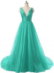 Turquoise Prom Dresses Organza Brush Train Sleeveless Ruching