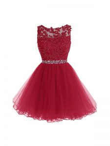 Inexpensive Burgundy Sleeveless Beading and Lace and Appliques Mini Length Prom Party Dress