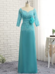 Baby Blue Sweetheart Zipper Lace and Appliques Mother Of The Bride Dress 3 4 Length Sleeve
