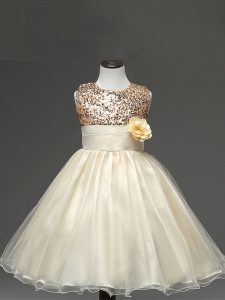 Knee Length Champagne Kids Pageant Dress Tulle Sleeveless Sequins and Hand Made Flower