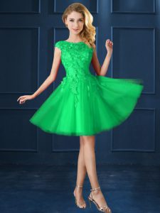 Low Price Green Cap Sleeves Knee Length Lace and Appliques Lace Up Wedding Guest Dresses