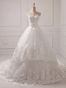 White Sweetheart Neckline Lace and Appliques Wedding Gown Sleeveless Lace Up