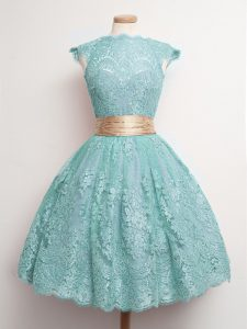 Decent High-neck Cap Sleeves Lace Up Court Dresses for Sweet 16 Aqua Blue Lace