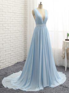 Light Blue Sleeveless Brush Train Ruching and Belt Prom Party Dress