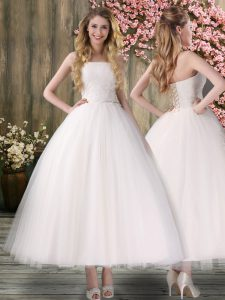 Customized Ankle Length White Wedding Gowns Off The Shoulder Sleeveless Lace Up