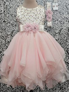 Scoop Sleeveless Chiffon Girls Pageant Dresses Beading and Hand Made Flower Backless