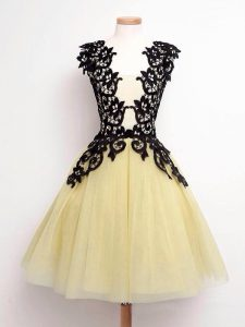 Tulle Straps Sleeveless Lace Up Lace Quinceanera Court of Honor Dress in Gold