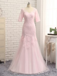 Baby Pink Half Sleeves Tulle Zipper Mother Of The Bride Dress for Prom and Military Ball and Beach
