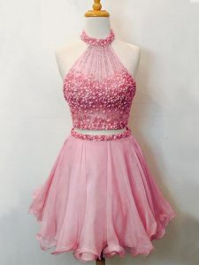 Customized Two Pieces Bridesmaid Gown Pink Halter Top Organza Sleeveless Knee Length Lace Up
