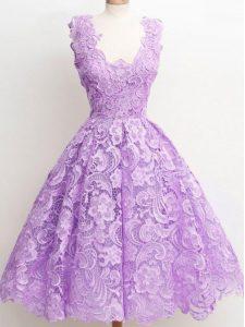 Best Selling Lace Straps Sleeveless Zipper Lace Vestidos de Damas in Lavender