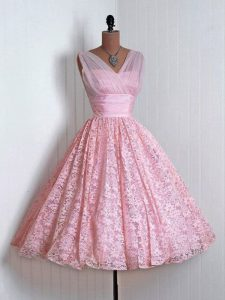 Lace Sleeveless Mini Length Quinceanera Court Dresses and Lace