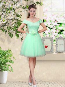 Fitting Apple Green Lace Up Dama Dress Belt Cap Sleeves Knee Length