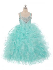 Ball Gowns Kids Pageant Dress Aqua Blue Straps Organza Sleeveless Floor Length Lace Up